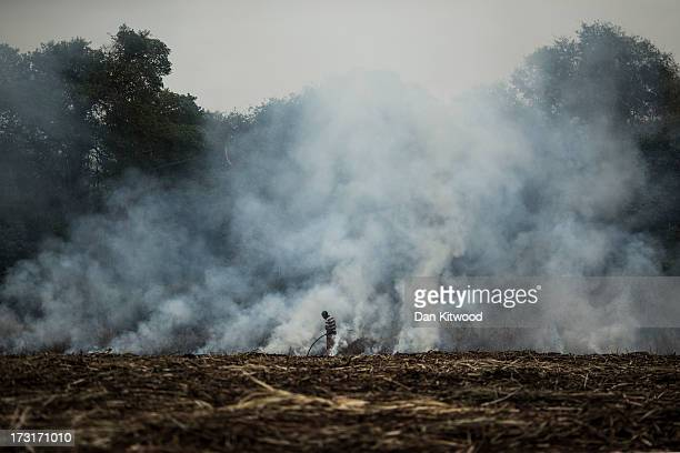 A worker burns stubble in a sugarcane field near the Kruger National Park on July 8 2013 in Komatiepoort South Africa South Africa is the world's...