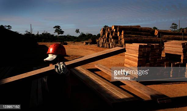 A worker caries a piece of Shiwawaco wood at a sawmill in Inapari Peru on Tuesday June 28 2011 Prices of raw materials like exotic hardwoods are...