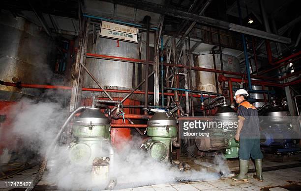 A worker checks tanks of crude palm oil at a clarification area at the PT Perkebunan Nusantara VIII plantation and production factory in Kertajaya...