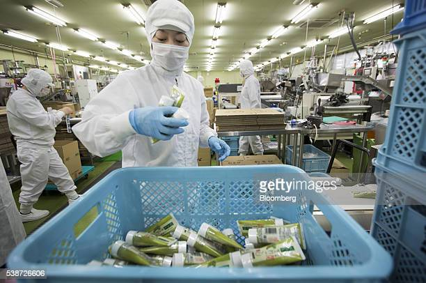 Worker checks tubes of Daio Wasabi Farm branded wasabi paste on the production line of the Marui Co. Factory in Azumino, Nagano Prefecture, Japan, on...