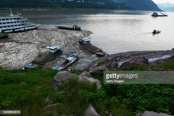 Rubbish floats above water at Three Gorges Reservoir Region on July 22 2018 in Chongqing China The Yangtze River affected by sustained rainfall...