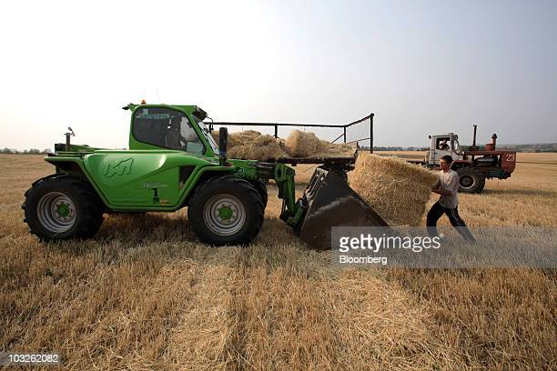 A worker collects straw bales from a wheat field in the Tulsky region about 220 kilometers from Moscow Russia on Thursday Aug 5 2010 Wheat prices...