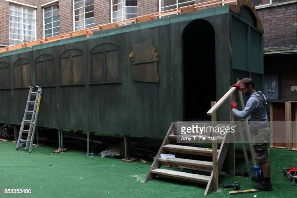 A worker constructs the set of the train car for a reenactment of Laura Palmer's murder the day before the Twin Peaks UK Festival 2017 at Hornsey...
