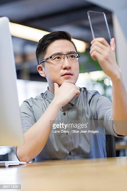 IT worker developing smart phone