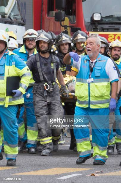 A worker died and two are serious injured after a scaffold collapsed during the remodeling works of the Ritz hotel on September 18 2018 in Madrid...