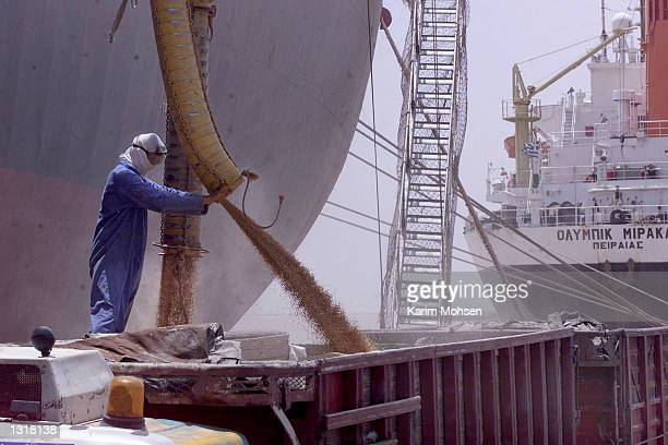 A worker directs a hose discharging US wheat from a Honduran cargo ship June 3 2001 in the port city of Umm Qasr Iraq on the last day of Iraq''s...