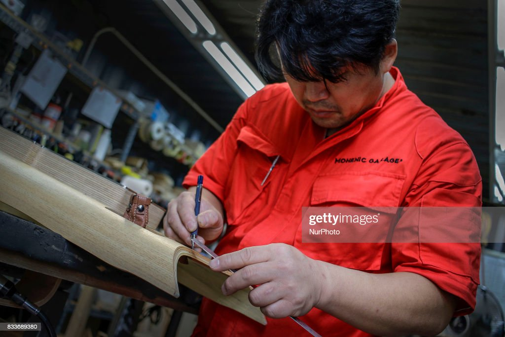 Worker Drawing To Wood Interior Part At Mohenic Garages In Paju News Photo Getty Images