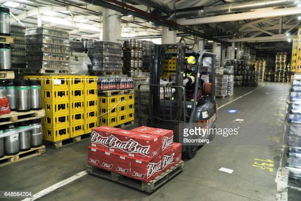A worker drives a forklift truck loaded with sealed boxes of Bud lager in the distribution center at the OAO SUN Inbev beer plant a unit of...