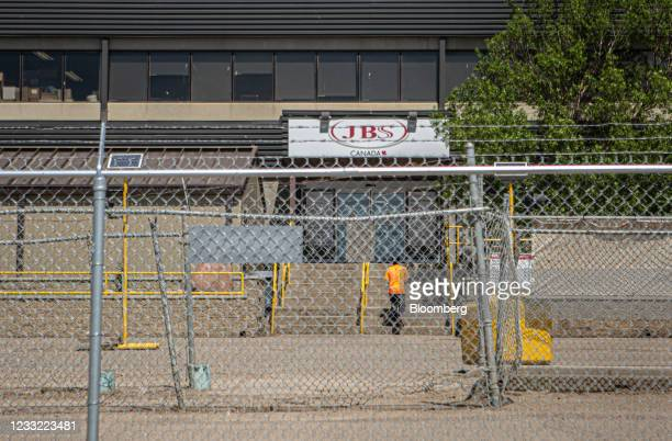 Worker enters the JBS beef plant in Brooks, Alberta, Canada, on Tuesday, June 1, 2021. A cyberattack on JBS SA, the world's largest meat producer,...