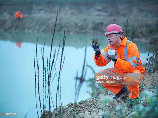worker examining plants in quarry - ecologist stock pictures, royalty-free photos & images