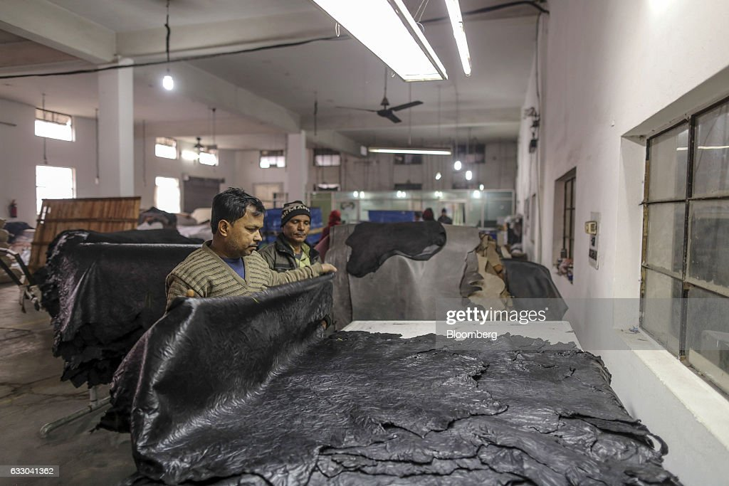 A worker folds a sheet of processed leather at the Jalandhar Leather Pvt tannery in Jalandhar Punjab India on Saturday Jan 21 2017 India`s 51 million.