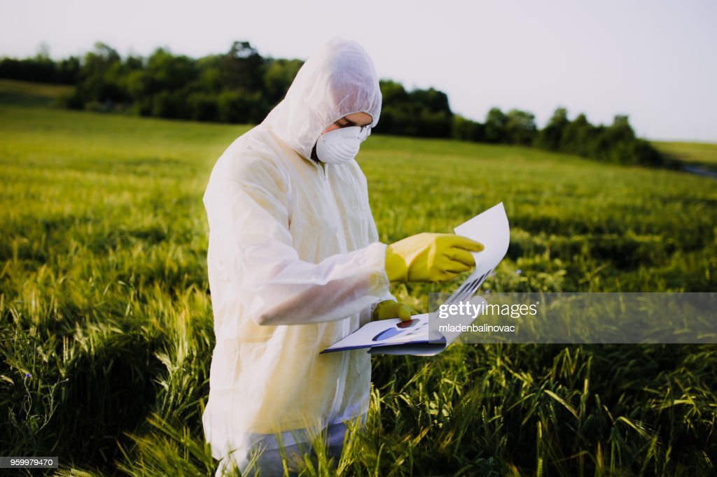 Worker for quality control in the field : Foto stock