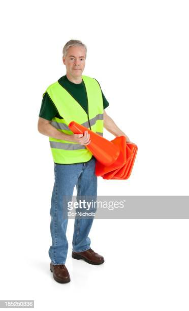 Worker Holding Traffic Cones