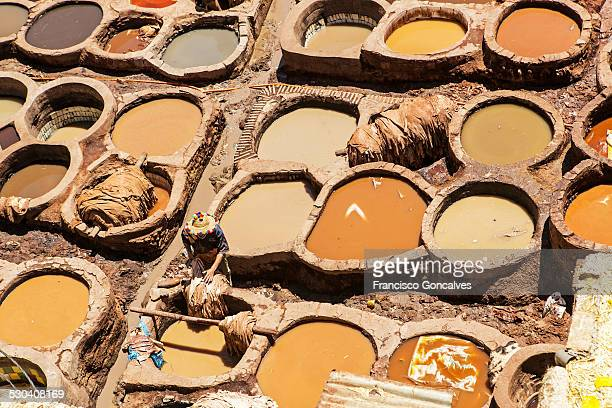 Worker in Chouara tannery in Fez, Morocco