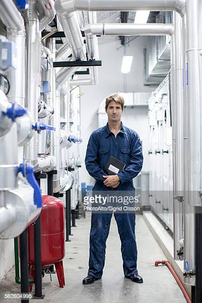 Worker in industrial plant, portrait