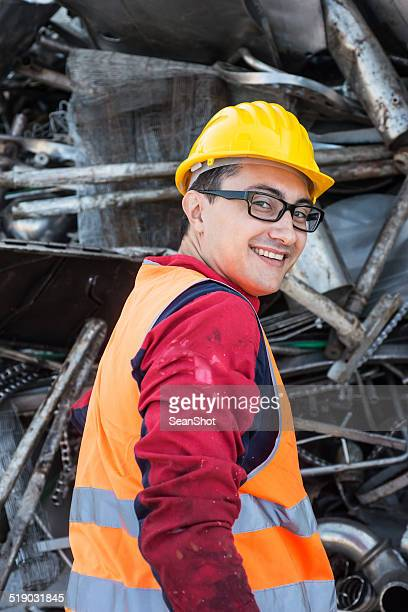 Worker in Metal Landfill