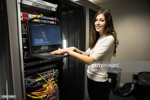 IT worker in server room