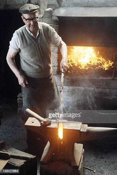 A worker in the foundry during a visit to the George Nicol of Scotland golf club factory and metal foundry on May 26 1975 in Leven Scotland