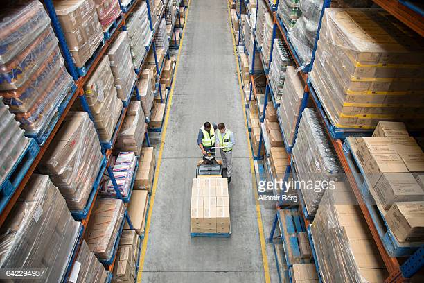 Worker inside a food distribution warehouse