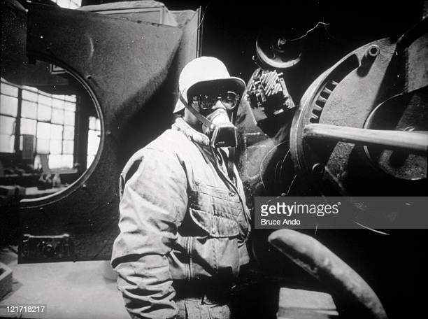 Worker inside wire factory, Georgetown, CT