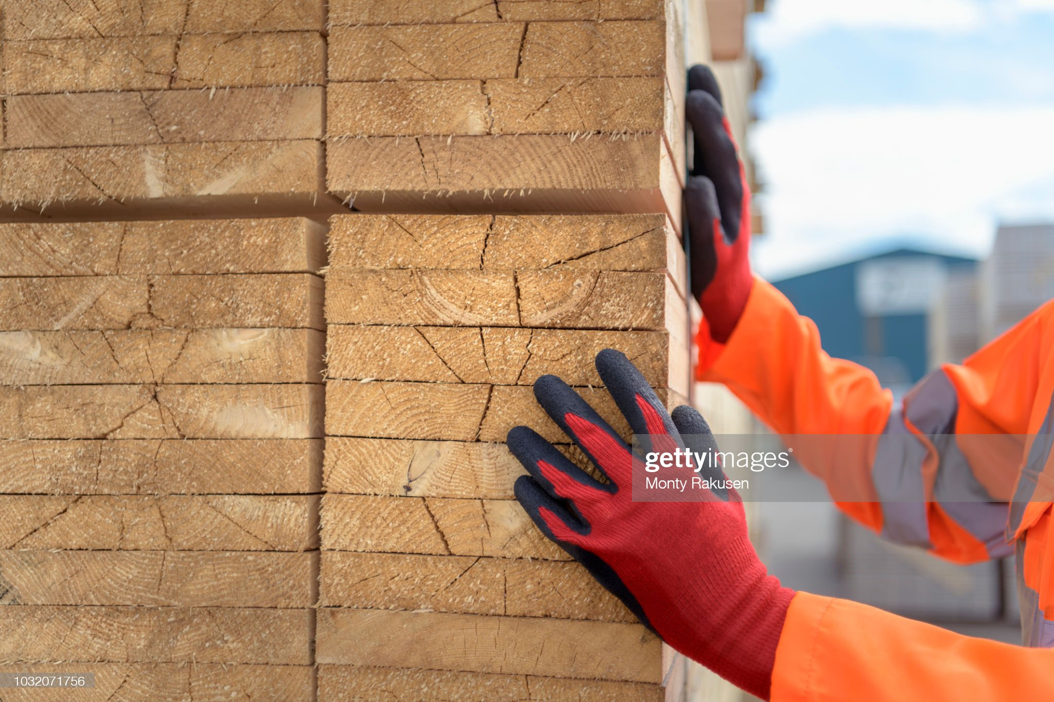Worker inspecting stacks of timber in storage at port : Stock Photo