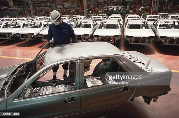 Worker involved in production of the Elantra model, at the Hyundai Motor Company in Ulsan.