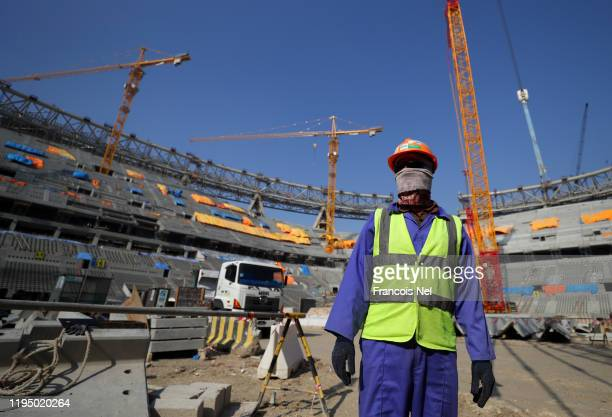 Worker is seen inside the stadium during a stadium tour at Lusail Stadium on December 20, 2019 in Doha, Qatar.