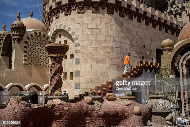 A worker is seen working at a new mosque under construction in the Old Market district on April 3 2016 in Sharm El Sheikh Egypt Prior to the Arab...