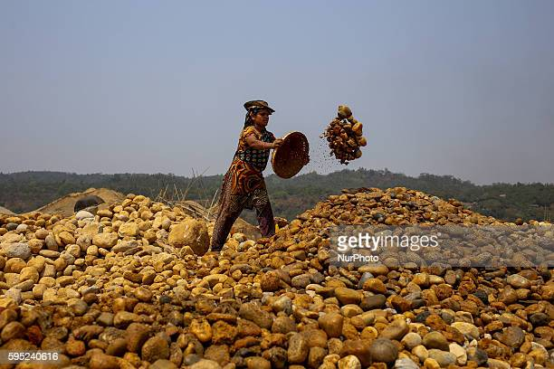 Worker is working in a stone mine at Bangladesh on March 18 2016