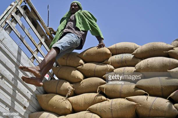 A worker jumps down from a truck after loading the vehicle with sacks of barley at a wholesale grain market in Rewari Haryana India on Wednesday...
