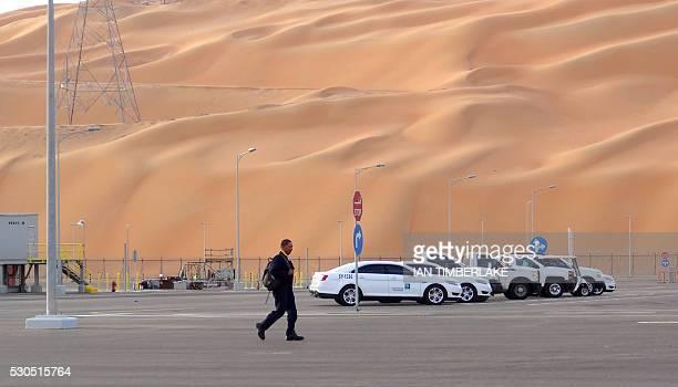 A worker leaves Aramco's Natural Gas Liquids plant in Saudi Arabia's remote Empty Quarter near the United Arab Emirates on May 10 2016 Despite...