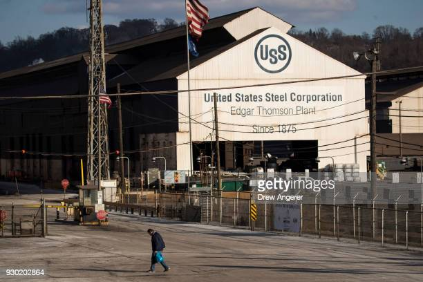 A worker leaves US Steel Edgar Thomson Steel Works March 10 2018 in Braddock Pennsylvania On Thursday President Donald Trump signed an order to...