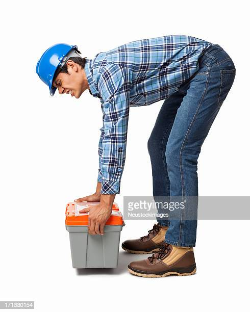 Worker Lifting Heavy Toolbox - Isolated