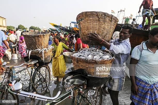 A worker loads a basket of purchased fish onto a bicycle at the Nagapattinam fishing harbor in Nagapattinam Tamil Nadu India on Sunday Oct 16 2016...