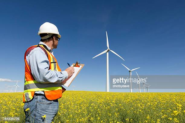 Worker looking at a field of wind turbines
