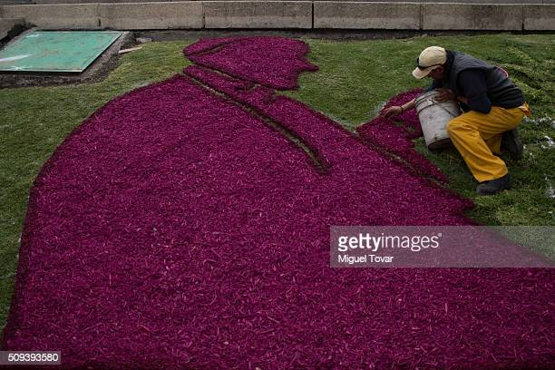 Worker makes a silhouette of Pope Francis with colored wood chips at Angel de la Independencia monument on February 10, 2016 in Mexico City, Mexico....