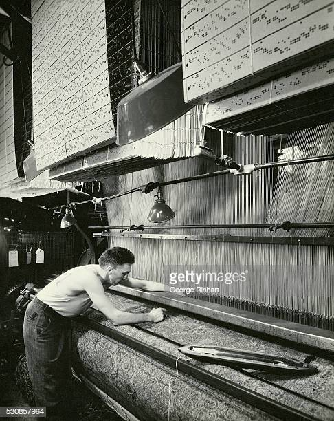 Worker Making Carpet with Jacquard Loom