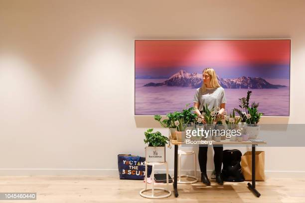 Worker mans a pop-up stall selling plants in a break-out area in the WeWork Cos. Co-working space at the One Poultry building in the City of London,...