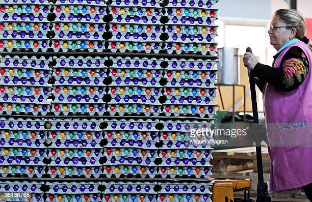 A worker moves a palette with piles of cooked and coloured eggs at the Beham coloured eggs company on March 30 2010 in Thannhausen Germany Beham is...