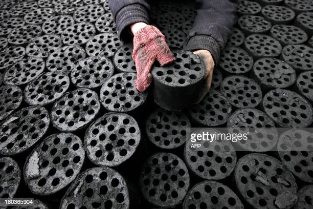 Worker moves coal briquettes onto a pedicab at a coal distribution business in Huaibei, central China's Anhui province on January 30, 2013....