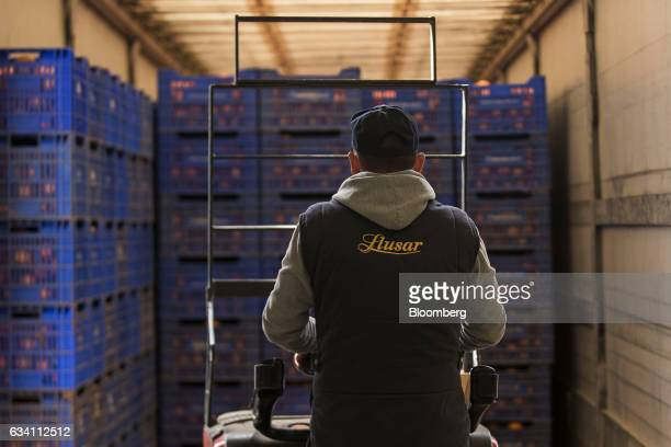 A worker moves harvested oranges from a truck prior to being treated with fungicide at the packing plant operated by Antonio Llusar y Cia SA in...