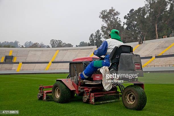 Worker moves the field of Sausalito Stadium of Viña del Mar, ahead of Copa America Chile 2015 on April 24, 2015 in Viña del Mar, Chile.