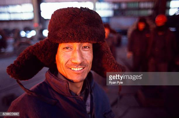 A worker near the blast furnace in the Bao Steel mill in Baotou Inner Mongolia China Baotou is an excellent example of a oneindustry town and that...