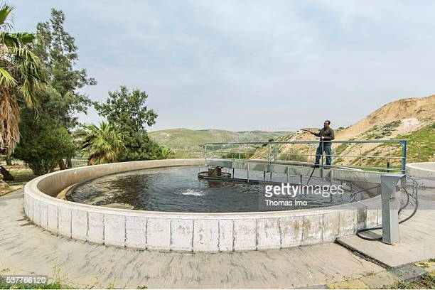A Worker of a sewage treatment plant is filling water with a water hose in a secondary clarifier on April 06 2016 in Fuheis Jordan