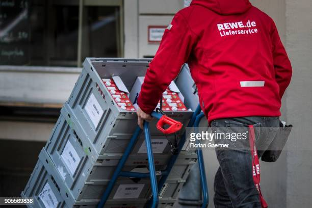 A worker of the delivery service of the supermarket chain REWE is pictured on January 15 2018 in Berlin Germany