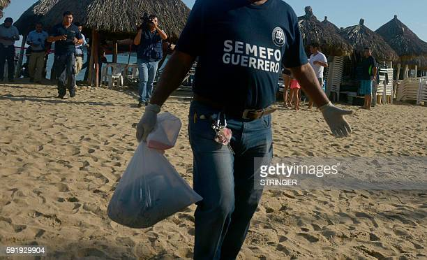 A worker of the Forensic Medical Service carries a human head inside a plastic bag found in the sand at Tamarindo beach in Acapulco Guerrero state...