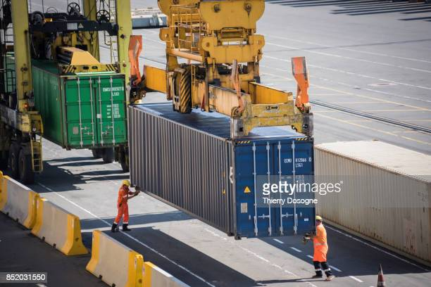 worker on docks - dock worker stock photos and pictures