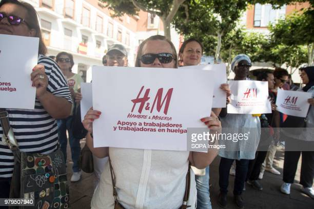 M worker on strike seen holding a placard during the demonstration Workers of the HM logistic center in Madrid has gone on strike and took to the...