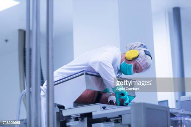 worker operating machinery in pharmaceutical plant - sigrid gombert stock pictures, royalty-free photos & images