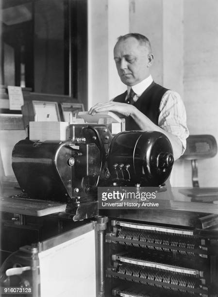 Worker Operating Tabulating Machine, Census Bureau, Department of Commerce, Washington DC, USA, Harris & Ewing, 1919.